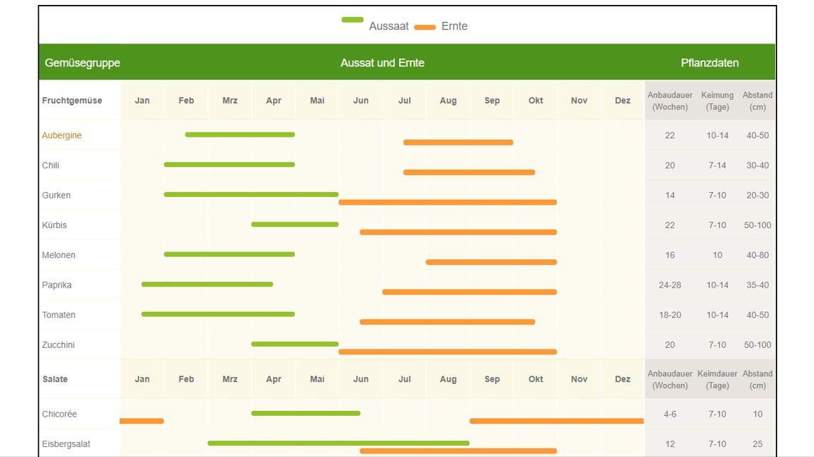 Aussaatkalender für Gemüse auf dem Balkon
